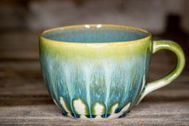 177 - Jumbo Keramiktasse in satinweiß, grün, türkis