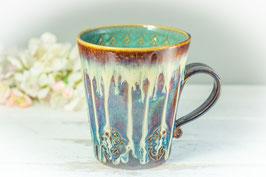 049 - Keramiktasse CELTIC in braun, blau, creme und türkis