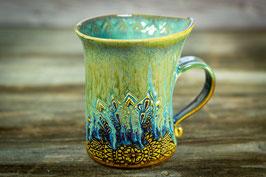 128 - Geschwungene Latte Macchiato Tasse in hellbraun, grün, bronze, türkis
