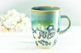 006 - Kleine elegante Keramiktasse in OZEAN in türkis, grün, transparent