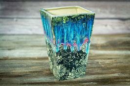 109 - Eckige Vase mit Blumenmuster in grün, türkis, rose, schwarz