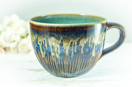 007 - Jumbo Keramiktasse in  braun, blau, bronze und türkis
