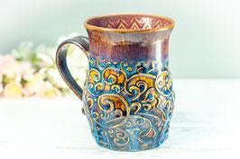 017 - Große Keramiktasse in braun, blau und pflaume