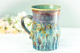 016 - Große Keramiktasse ROSE **2. Wahl** in braun, beige und türkis