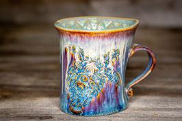 188 - Geschwungene Keramiktasse SCHILDKRÖTE in braun, blau, creme und türkis