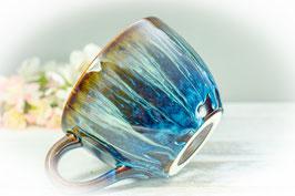 077 - Jumbo Keramiktasse in braun, blau, creme und graulila