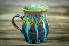 117 - Große Keramiktasse in braun, blau, türkis (2. Wahl)