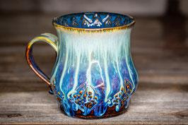 174 - Große Keramiktasse in braun, türkis und saphir innen