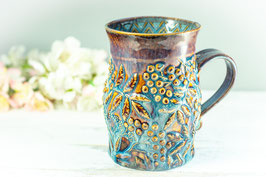 018 - Große Keramiktasse **2. Wahl** in braun, beige und blau