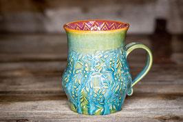 185 - Große Keramiktasse in grün, türkis und pflaume