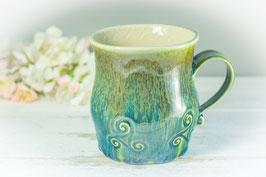 041 - Große Keramiktasse in grün, türkis, bronze und innen klar