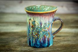 150 - Geschwungene Latte Macchiato Tasse in braun, blau, creme und türkis