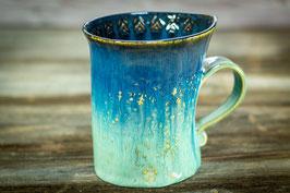 118 - Geschwungene Latte Macchiato Tasse in eisblau und saphirblau (2.Wahl)