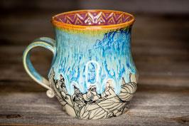 236 - Große Keramiktasse HORTENSIEN in türkis, creme und pflaume