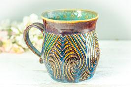 031 - Große Keramiktasse in braun, blau und türkis