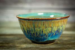 121 - Große Müslischale, Schale in braun, blau, goldgelb und türkis