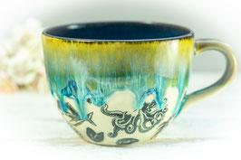 067 - Jumbo Keramiktasse OZEAN in türkis, grün, saphir **2. Wahl**