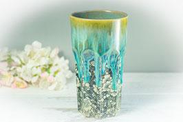 039 - Bier Becher, Longdrink Glas in grün, türkis mit Blütenmuster