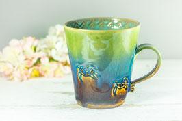 085 - Keramiktasse TURTLE in braun, grün, türkis