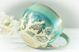 055 - Jumbo Keramiktasse OZEAN in grün, türkis