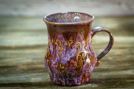 111 - Große Keramiktasse in braun, dunkellila, merlot