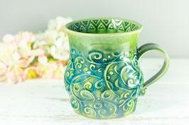 086 - Große Keramiktasse in grün, türkis