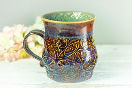 100 - Große Keramiktasse in braun, blau, türkis
