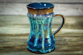129 - Bierkrug, Jumbotasse in braun, blau, saphir