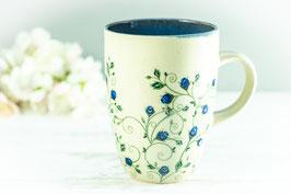 008 - Kleine elegante Keramiktasse DORNRÖSCHEN in saphir, transparent