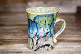 175 - Geschwungene Latte Macchiato Tasse in grün, türkis mit Holzdekor