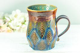 026 - Große Keramiktasse in braun, blau und türkis