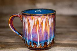 232 - Große Keramiktasse, Kaffeepot in braun, blau, creme und saphir