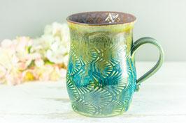 080 - Große Keramiktasse in grün, türkis, bronze und graulila