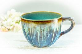 076 - Jumbo Keramiktasse in braun, blau, creme und türkis