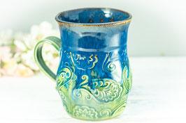 033 - Große Keramiktasse in grün, türkis, saphir