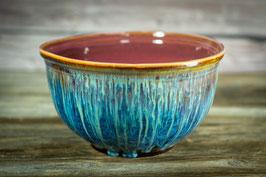 141 - Große Salatschale in braun, blau, creme, türkis (2. Wahl)