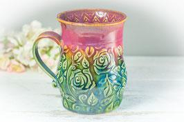 044 - Große Keramiktasse in grün, türkis und pflaume (2.Wahl)