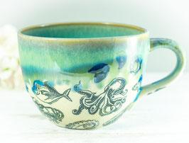 009 - Jumbo Keramiktasse in OZEAN in grün, türkis, transparent