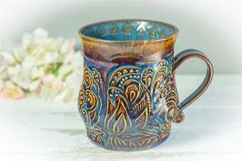 036 - Große Keramiktasse in braun, blau