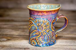 201 - Geschwungene Latte Macchiato Tasse in braun, blau und türkis