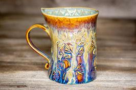 183 - Geschwungene Latte Macchiato Tasse in braun, blau, bronze und türkis
