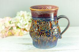 083 - Große Keramiktasse ROSE in braun, blau und pflaume