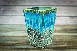140 - Eckige Vase mit Monsterablättern in grün, blau, türkis, schwarz