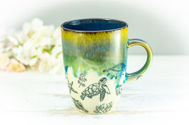 071 - Kleine elegante Keramiktasse OZEAN in grün, türkis, saphir
