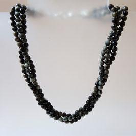Obsidian -dreireihige Edelstein Kette aus eigener Werkstatt mit 925 Silber Verschluss.