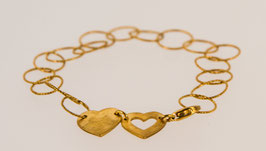 Zwei Herzen- feine, dünne Armkette, Einzelstück