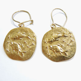 FISCHE Sternzeichen-Horoskop Ohrgehänge in 925 Sterling Silber, vergoldet