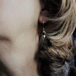 Onyx Ohrgehänge mit 925 Sterling Silber, vergoldet