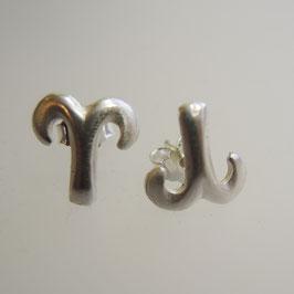 WIDDER, Astrologie, Widder Symbol: Sternzeichen Ohrstecker -925 Sterling Silber oder vergoldet