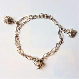 Schöne Armkette mit Igel, Küke und Fliege, 925 Sterling Silber